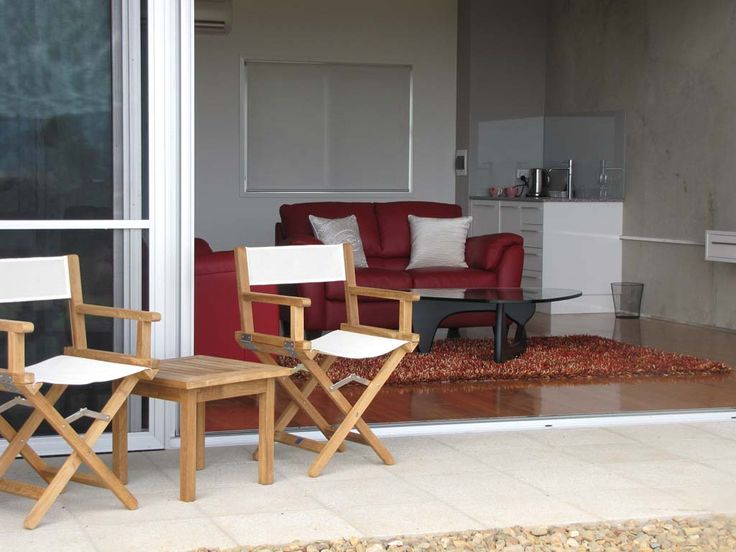 Raffles 50cm Side Table #1853 with Raffles Directors Textilene Folding Armchairs in Ivory   At Bunyip Scenic Resort   www.leblon.com.au