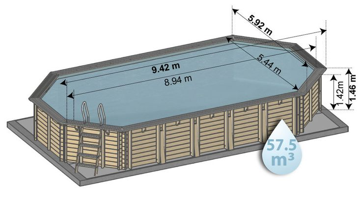 Woodfirst Original kit piscine bois Octogonale Allongée 942 x 592 x 146 cm