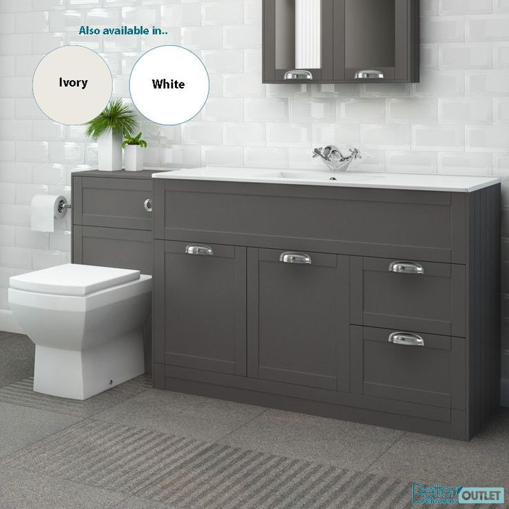 1000mm Traditional Vanity Unit Back to Wall Toilet Ceramic WC Bathroom Storage
