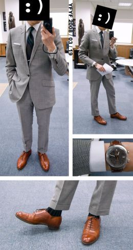 grey suit with skinny yellow tie | suit in light grey with brown shoes (pic from styleforum.net)