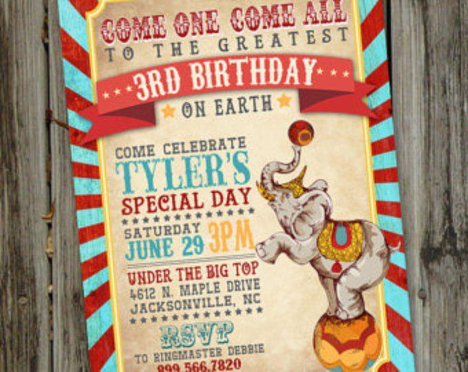 Circus Birthday Invitation. Circus Birthday Party Invite. 1st
