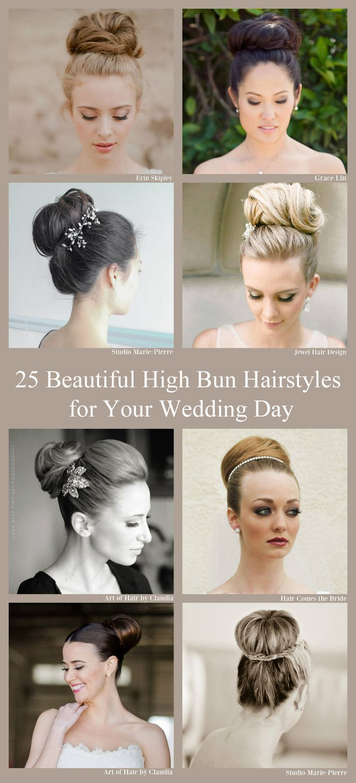 High Bun Bridal Hairstyles for your Wedding Day brought to you by Hair Comes the Bride