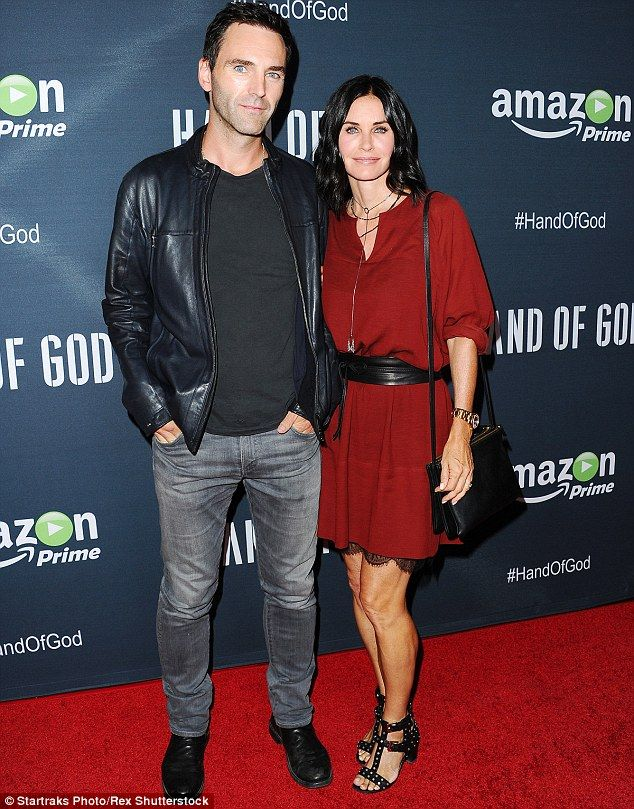 Loved up! Courteney Cox and her rocker fiancé Johnny McDaid attended the red carpet Los Angeles premiere of upcoming series Hand Of God