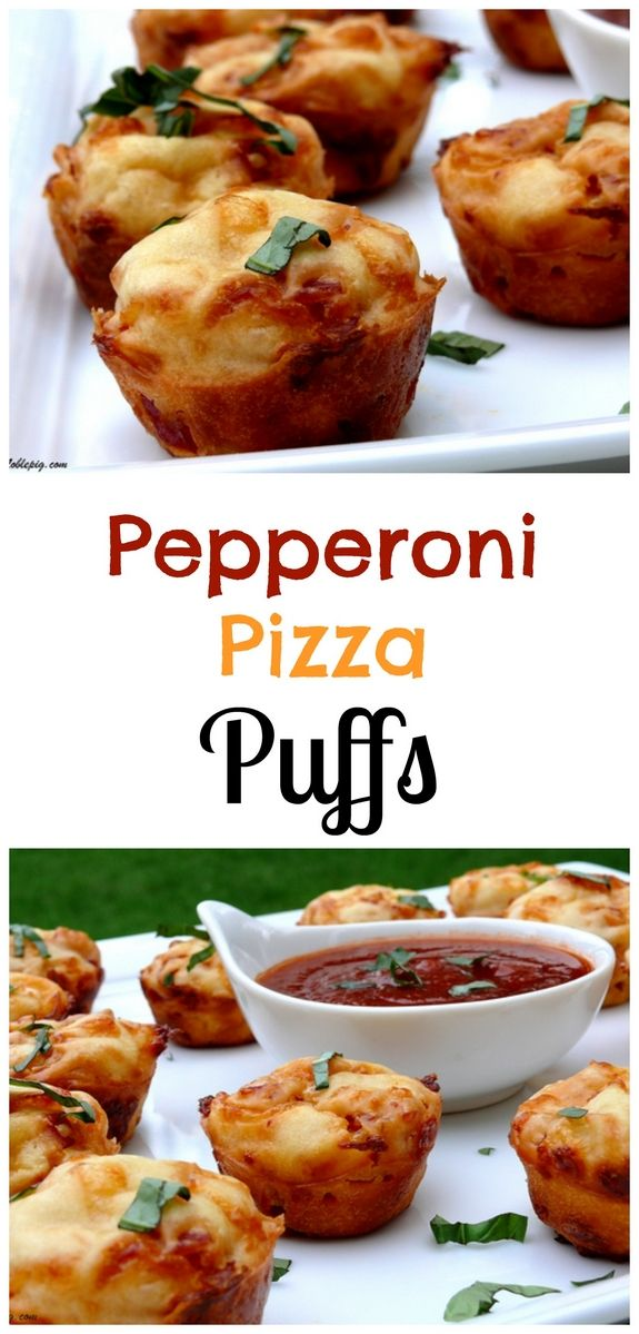 Pepperoni Pizza Puffs are the perfect appetizer and very kid friendly from NoblePig.com.