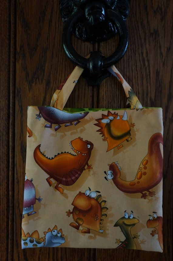 Little Tote bag made with dinosaur cotton by TheCraftyPhoenixLady, £3.50