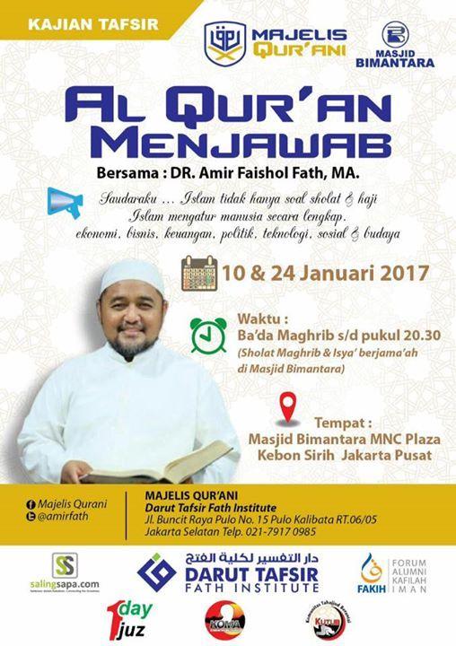 "Pernah dengar kalimat ""aku tersesat dan tak tau arah jalan pulang aku tanpamu ......"" guys? . Ini semua ga mungkin kejadian karena semua pertanyaan keluhan dan masalah kamu sebenernya udah ada jawabannya  . . ""Dan sesungguhnya Kami telah mendatangkan sebuah Kitab (Al-Qur'an) kepada mereka yang Kami telah menjelaskannya atas dasar pengetahuan Kami; menjadi petunjuk dan rahmat bagi orang-orang yang beriman (Q.S Al-A'raf : 52) . . Yuk ikuti kajian Al-Qur'an Menjawab bersama Ustadz Amir Faishol…"