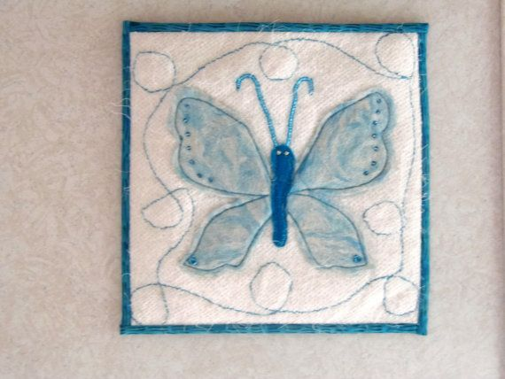 Felted Wall Hanging, Butterfly Wall Art, Machine Stitched Decor, Mini Art Quilt, Quilted Wall Hanging by clockworkrummage. Explore more products on http://clockworkrummage.etsy.com