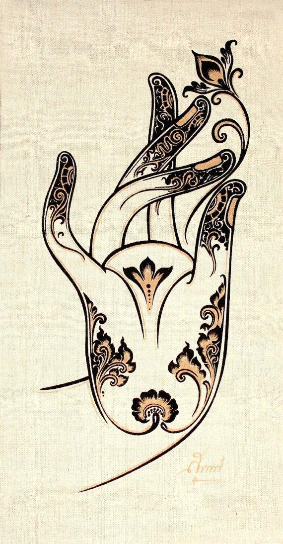 Hemp Wall Hanging Batik /Tapestry/ print - Buddha's Lotus Mudra, Symbolic Hand gesture, Acrylic silkscreen Hand painted Lotus Mudra transferred to