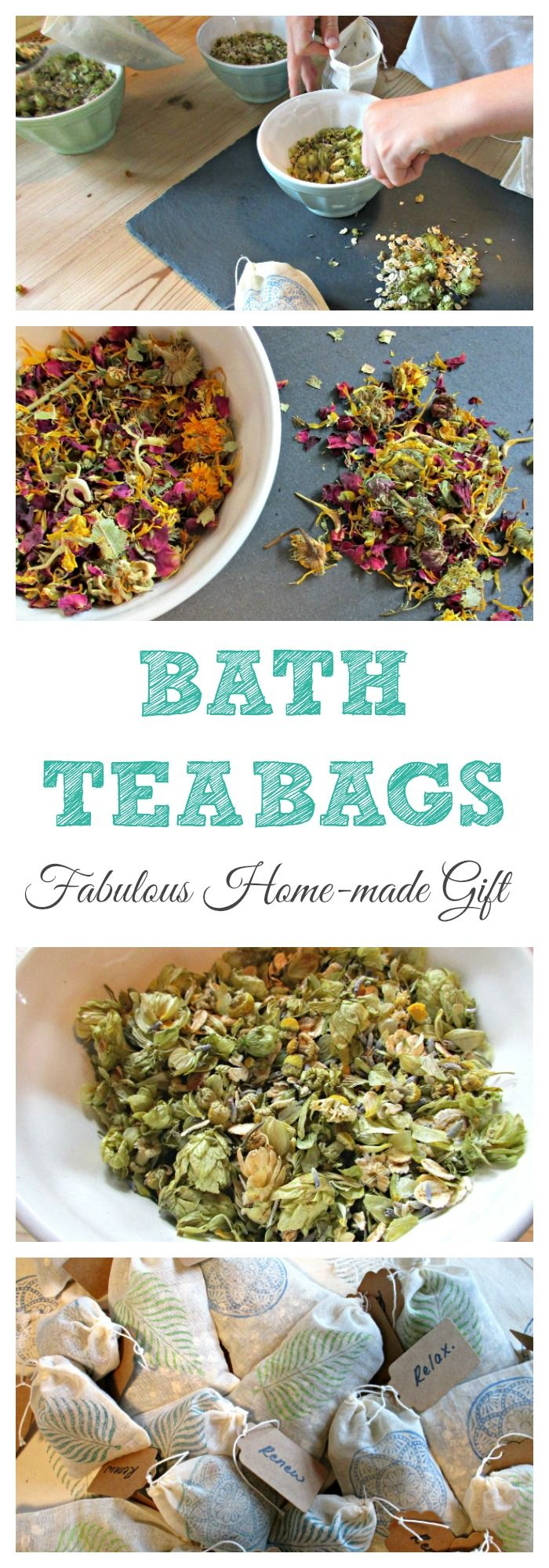 Home made presents are such a lovely thing to give and receive, and are perfect for teacher appreciation gifts, hostess gifts or to pop into home made hampers. They are also a fabulous way to get children involved. These Bath Tea Bags are such fun to make, and can be tailored to suit the recipient.