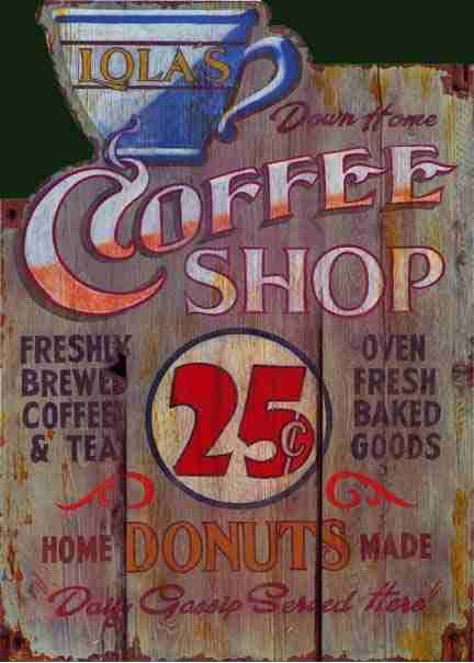 Rustic wood coffee sign