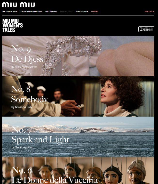 Una serie di  registe ha espresso attraverso un cortometraggio la propria visione della femminilità. Molto suggestiva l'opera di Alice Rohrwacher (numero 9), nella quale un abito prende vita.