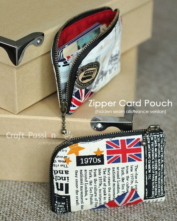 sew zipper card pouch, an upgraded version of the previous free pattern found here http://www.craftpassion.com/2012/07/zipper-card-pouch.html