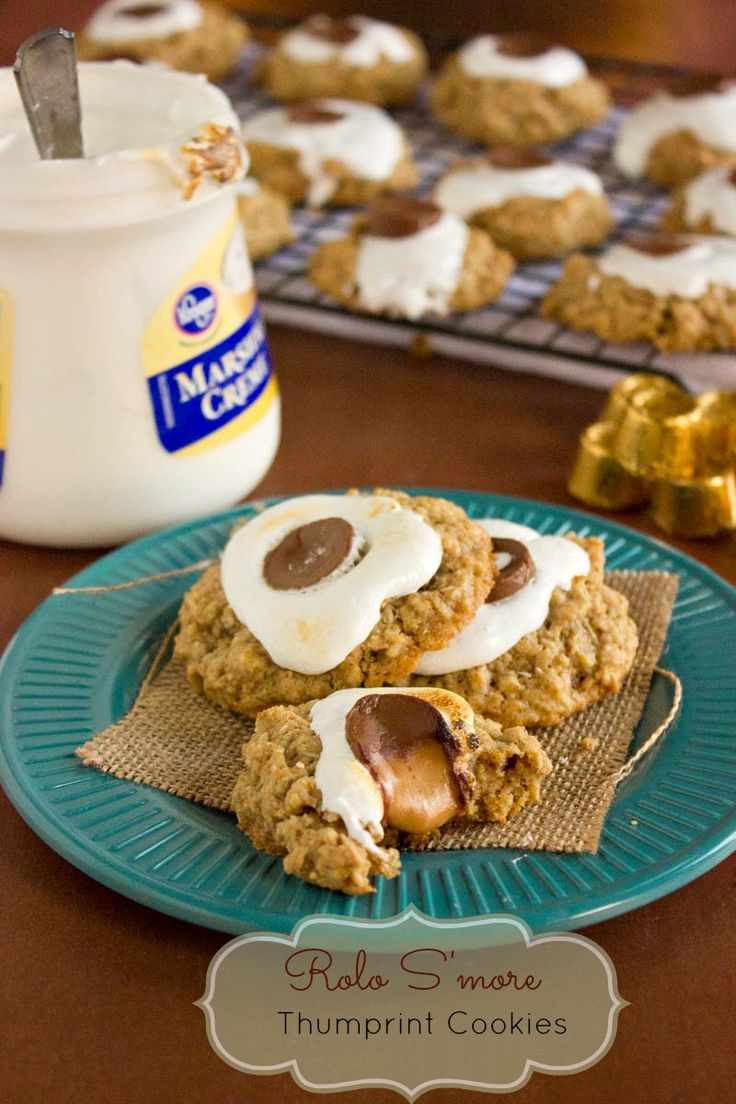 Rolo meets S'more meets cookie making Rolo S'more Thumbprint Cookies! Easy and fun to eat.