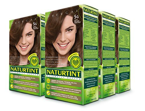 Naturtint Permanent Hair Color - 5G Light Golden Chestnut, 5.28 fl oz (6-pack):   Naturtint® is the first permanent hair color, free of harsh chemicals, that provides both beautiful, radiant color and is healthy for your hair! Combining natural activators that nourish your hair and micro-pigments that provide a more intense color, Naturtint even covers gray completely in one application, while restoring softness, shine and vitality. Naturtint is available in 29 mixable shades, and each...