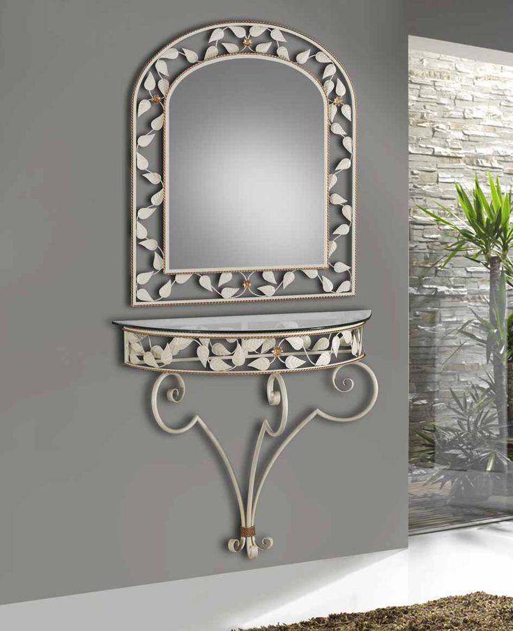 Kommode og speil i smijern modell MIL HOJAS SUSPENDIDO www.jernmøbler.com #kommode #gang #stue #soverom #design #interior #interiør #interiormirame #interiørmirame #mirameinteriørogdesign #nettbutikk #vakrehjemoginteriør #speil #kommode #smijern