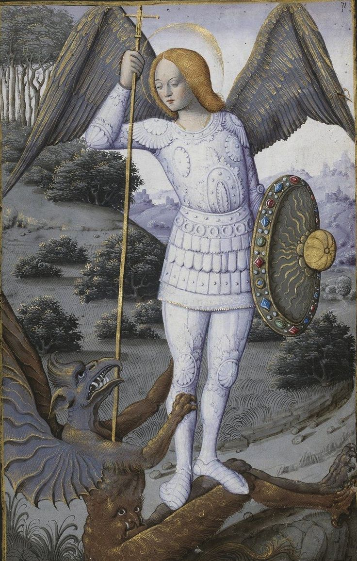 Saint Michel, archange, Horae ad usum romanum, 1475-1600, BNF ms Latin 1171, 71r