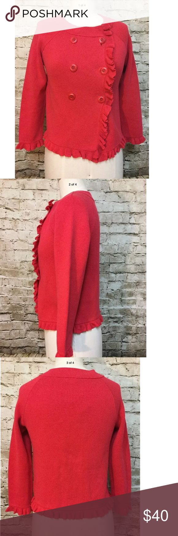 """J crew red career sweater jacket New J.Crew """"Katie"""" sweater jacket. Fabulous large buttons and ruffle trim Size: S Chest: 38"""" Length: 23"""" J. Crew Jackets & Coats Blazers"""