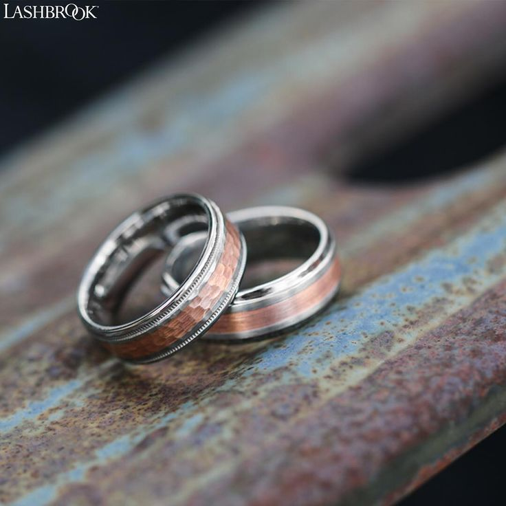 Something Borrowed Wedding Band: Rose Gold Is The New Black. A Cobalt Chrome Band With A