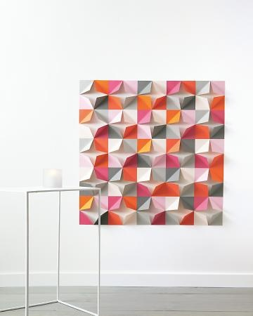 Pretty, inexpensive and bold paper decor.: Wall Art, Paper Walls, Idea, Paper Backdrop, Craft, Folded Paper Wall, Wall Backdrop