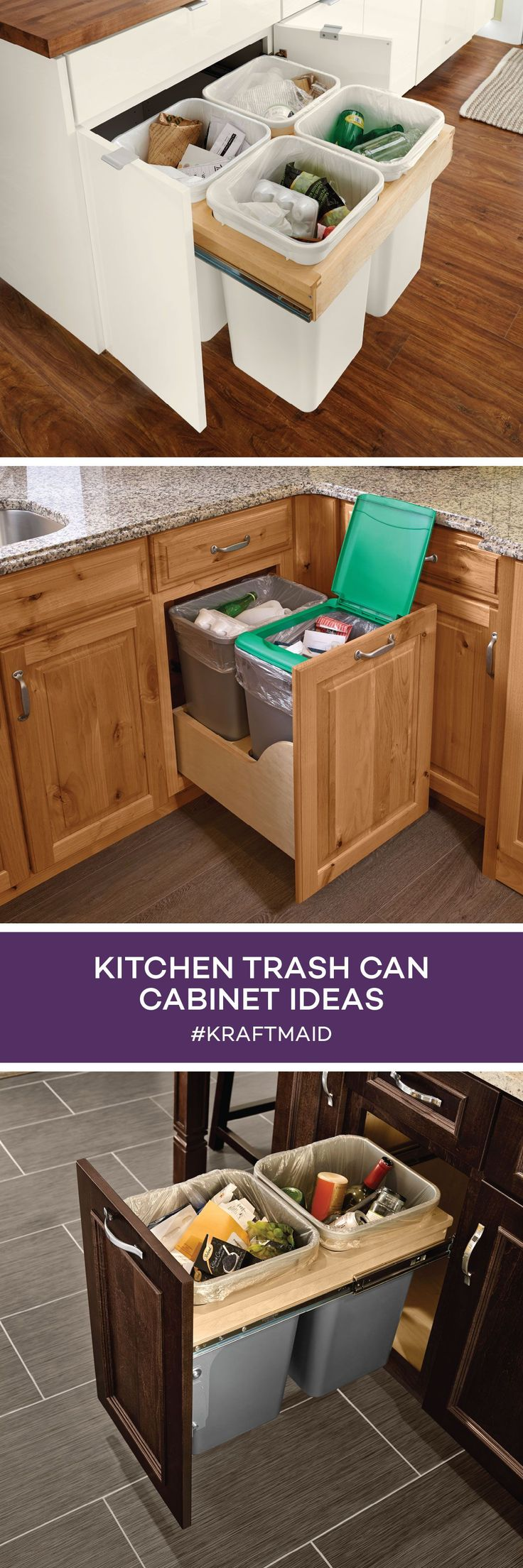 When you're remodeling your kitchen, don't forget to make space for your wastebasket and recycling. Here are a few ways to keep your trash bins out of sight.