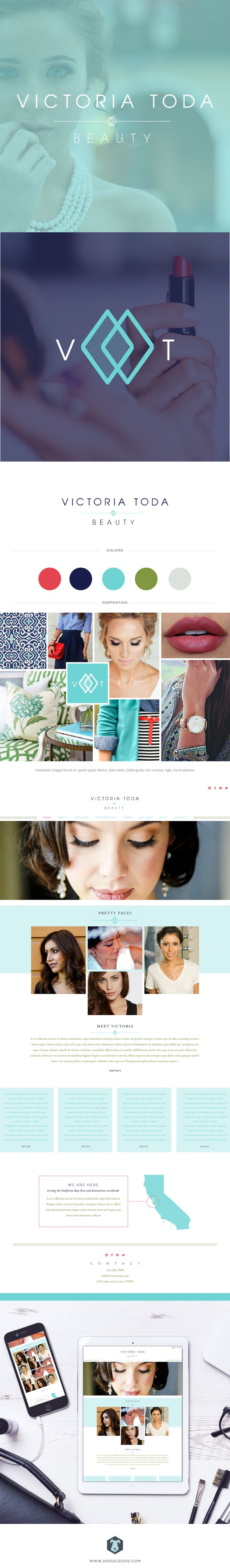 Branding, logo, and website design for California makeup artist, Victoria Toda by Doodle Dog. See the full design and more at www.doodledog.com
