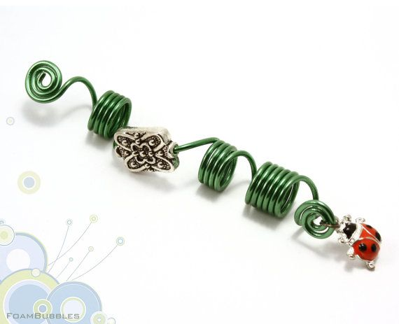 Lady Bug Dreadlock Accessory. Dreadlock Accessory with Green Wire, metallic bead and a lady bug charm. Dreads Accessory. Ready to ship