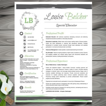 *** 3 *** VERSIONS OF FLORAL Teacher Resume Template (FLORAL) *****PowerPoint EDITABLE*****