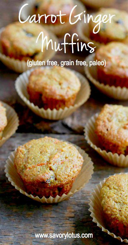 Carrot Ginger Muffins (gluten free, grain free, paleo) - savorylotus.com #glutenfree #grainfree #muffins #paleo