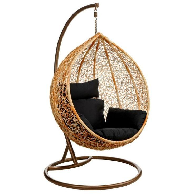 sillón  colgante de rattan con cojines negros