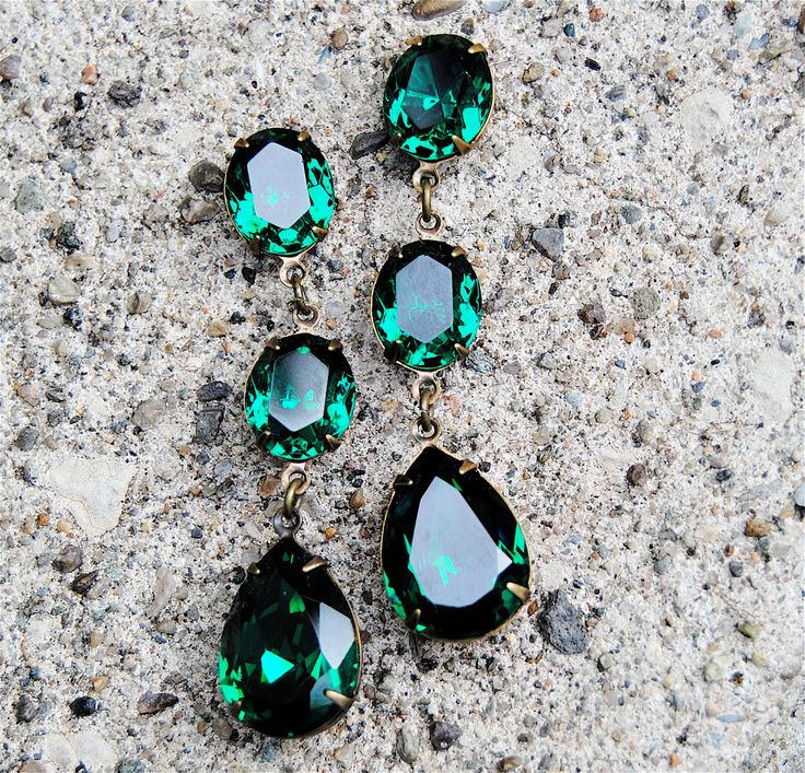 Emerald Green Earrings Swarovski Crystal Green Rhinestone Earrings Tear Drop Post Dangle or Clip on Earrings Fiesta Mashugana (58.00 USD) by MASHUGANA
