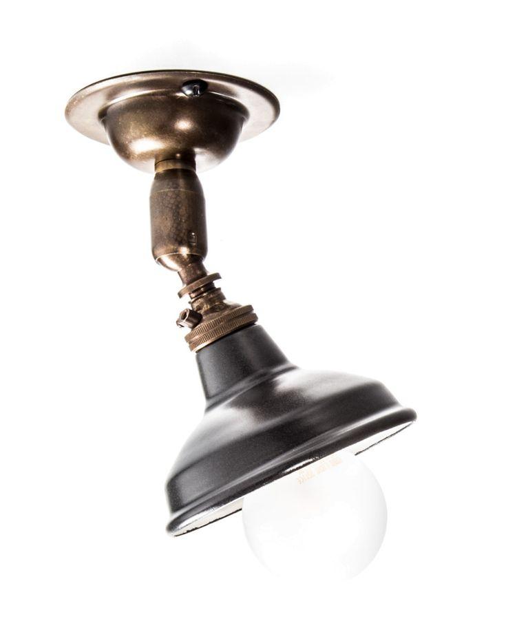 Brass Maria Spotlight Ceiling Light Matt Black Enamel Shade