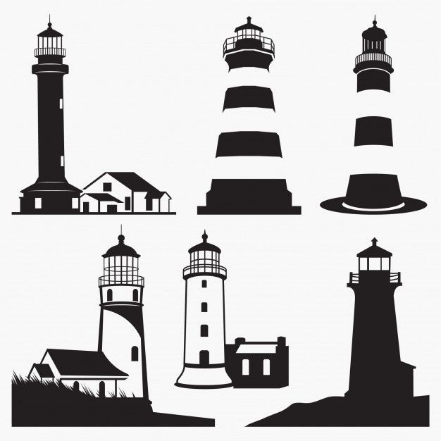 Lighthouse Silhouettes Lighthouse Silhouette Illustration Silhouette Vector