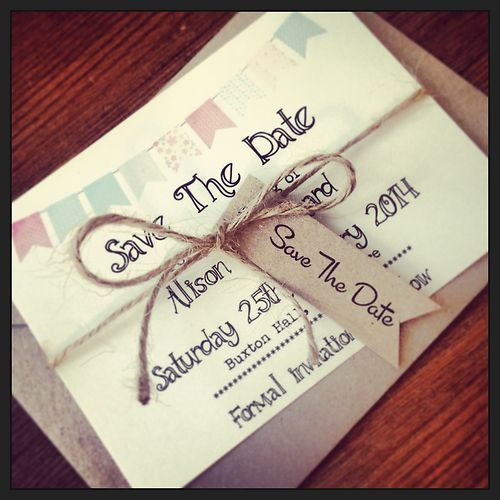 1 Vintage/Shabby Chic Style Bunting save the date sample with twine & tag | eBay