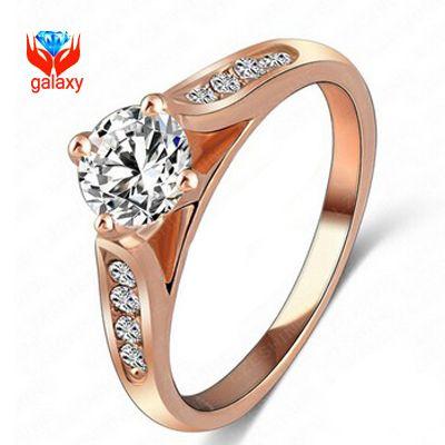 Большое продвижение по службе! новый модный 18 К розовое золото заполненные 1 СТ CZ алмазные обручальные кольца для женщин обручальное кольцо ZHQ1001