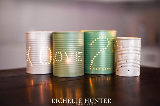 DIY tin can candle holders