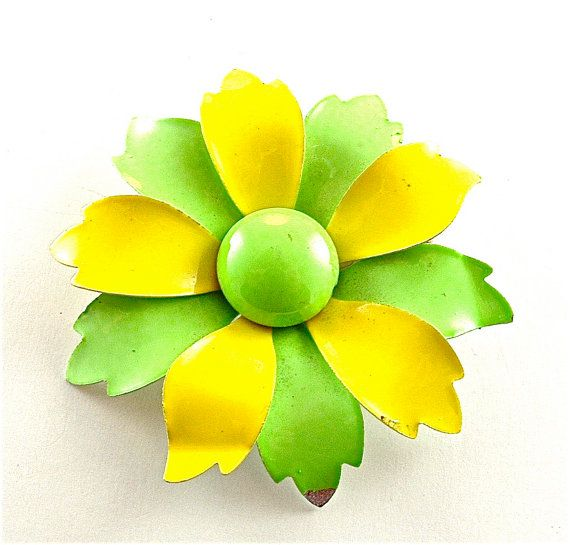 Flower Brooch Enamel Vintage Floral Jewelry Neon Lemon Lime Yellow Green Pin Free US Shipping