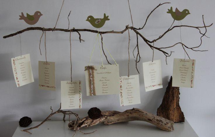 Plan de table d coration de mariage bapt me th me nature et oiseaux cu - Deco de table naturel ...