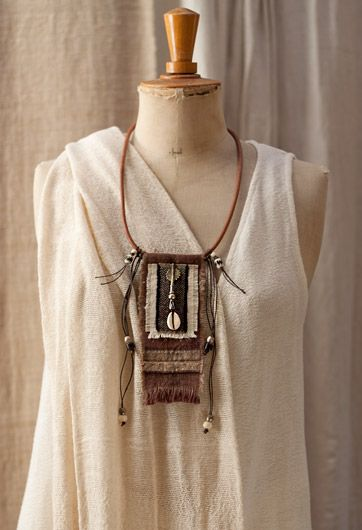 Upcycled handyed vintage french linen necklace with ethnic beads( bone and brass from Mali) and leather cord – amalthee