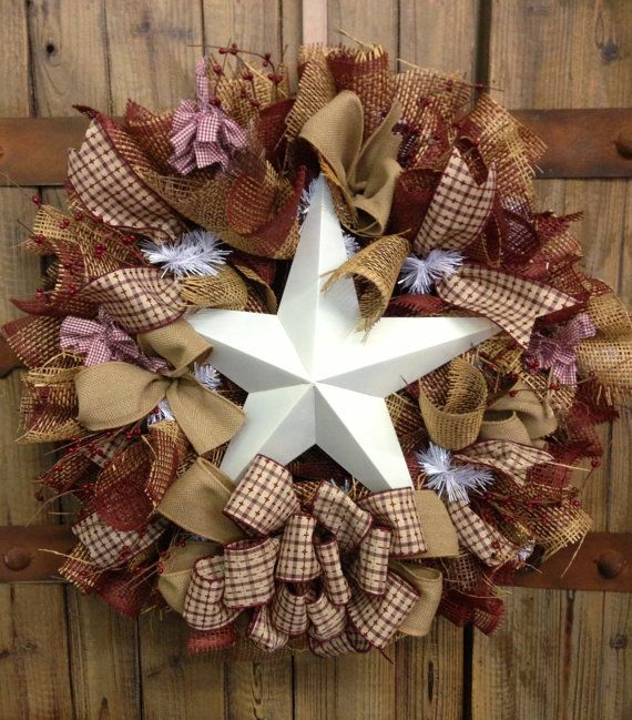 homemade primitive stars | Primitive star wreath by WilliamsFloral on Etsy