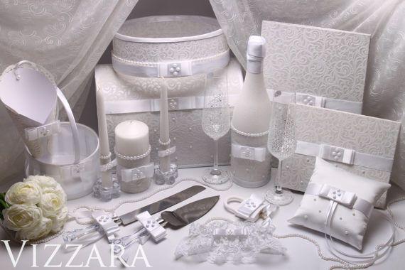 Set wedding White Glasses Gifts wedding Silver Ring Bearer Pillow Wedding Girl Basket wedding Unity Candles Vintage wedding box ideas Decor
