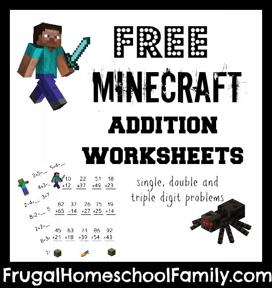 More Minecraft printables for the Minecraft fans in your homeschool! Frugal Homeschool Family is offering a free set of Minecraft addition work