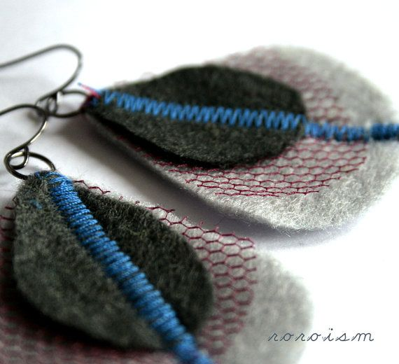 Felt peacock feather Earrings in Gray and Graphite by roroism, $9.99