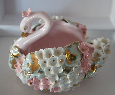 Vintage Lefton China Swan Figurine Ring Dish Figurines Cats Dogs Squirrels Birds Sheep