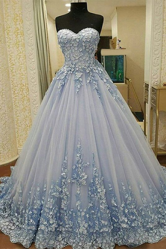 2019 Prom dresses Sweetheart A Line Tulle with handmade flowers lace up