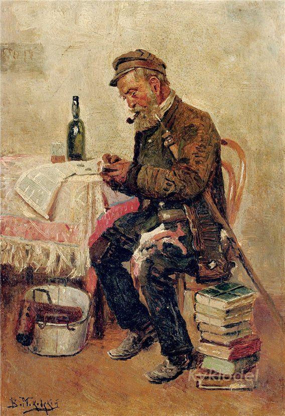 """Маковский Владимир Егорович (1846-1920) """"Букинист"""" 1878"""