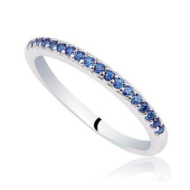 cz 925 anello fascia d'argento delle donne classiche (viola, blu scuro) (1pc) promessa – EUR € 23.99