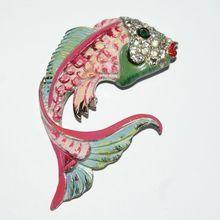 Coro Fun Enamel Fish Fur Clip Luminous Bijoux Exclusively on Ruby Lane