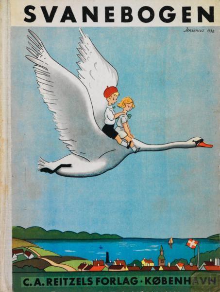 """I """"Svanebogen, Smaabørnenes Læsebog"""" står Herluf Jensenius for de spændende og friske tegninger."""