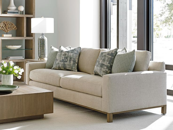 Neutral Sofa With Contemporary Frame. #LHBDesign #CustomUpholstery