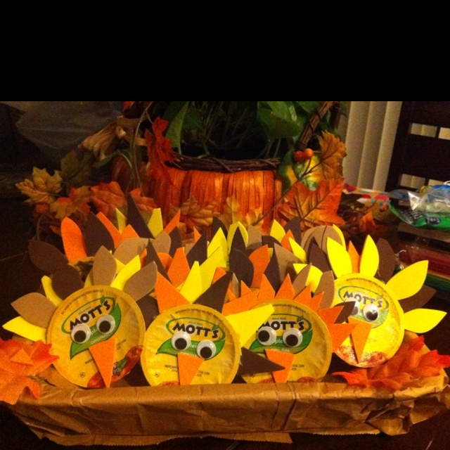 Applesauce turkeys for the kids.  I made these for my sons harvest party at school